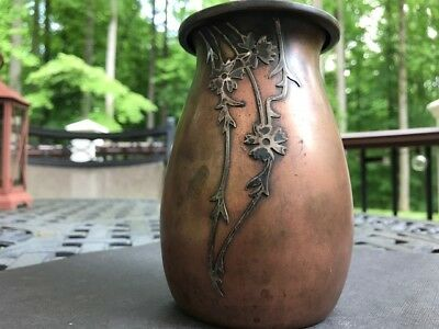Antique Heintz Bronze Vase with Sterling Silver Overlay 3646 A PAT. 1900's