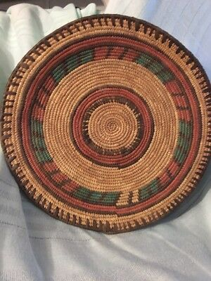 Vintage Antique Hand Woven Native American Indian Basket Plate Hand Crafted