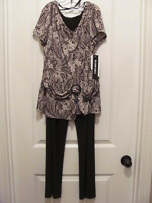 Nwt Size 14 2 Piece Perceptions Ny Brown & Beige Pants & Top Set