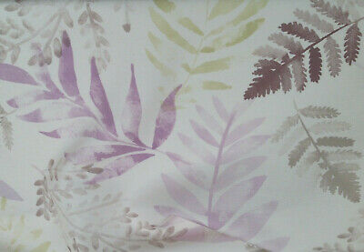 End of roll watercolour botanical print ferns green lilac brown white 4.8m