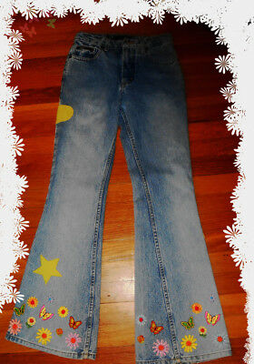 Quality Vintage Bell Bottom Jeans With Flowers And Butterflies Small Size Ex