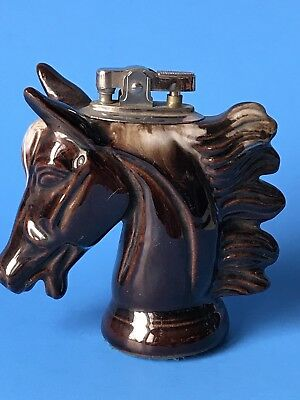 HORSE HEAD Table CIGARETTE LIGHTER Brown Ceramic Glaze JAPAN
