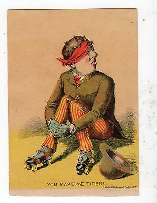 Roller Skating*you Make Me Tired*clay & Richmond*stock Victorian Trade Card