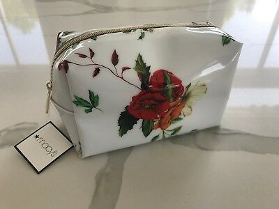 68e107c1c0e MACY'S white patent floral makeup bag cosmetic case travel pouch clutch NEW