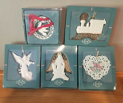 LENOX Lot of 5 White China Collectible Christmas Ornament New in Boxes