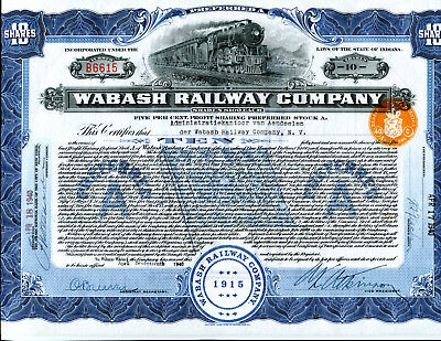 1940 Wabash Railway Preferred Share stock Certificate  State of Indiana