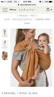 Sakura Bloom Caramel Ring Sling in Chambray Double Layer Linen Sold Out Color