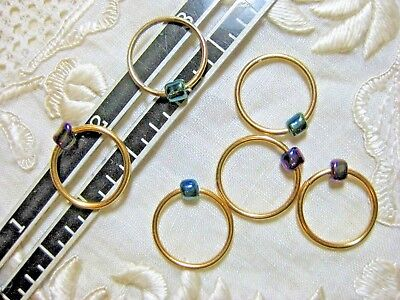 6 GOLD with COLORFUL GLASS CHARMS KNITTING STITCH MARKERS UP TO US 15 NEEDLES