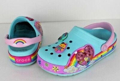 edf61acfe Crocs lights youth girls  rainbow heart ballerina blue clog size1