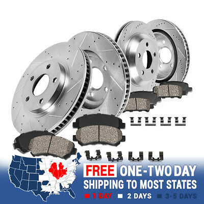 For 2005-2007 Audi A6 Quattro Front Rear Slotted Brake Rotors+Ceramic Brake Pads