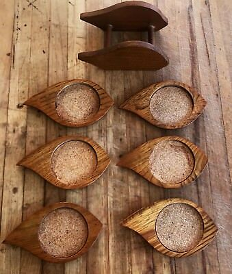 Wooden Coaster Mid Century Modern Home Decor Set Of 6 Free Shipping