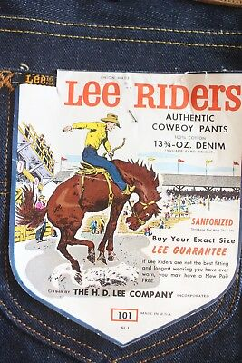 LEE RIDERS 101 Size 30-13 3/4oz c1970's  SANFORIZED UNION Made in USA NEW -RARE!