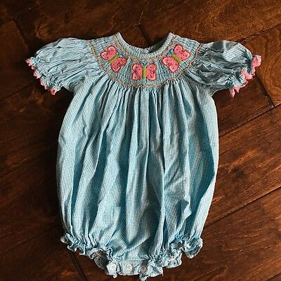 Patycake Kids 18m Pleated Butterfly Smocked Bubble One Piece Romper 18 Months