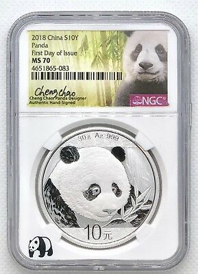 2018 China Silver Panda Ngc Ms70 First Day Issue Cheng Chao Signed Fdi & Coa