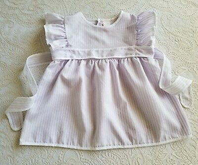 Vintage Baby Toddler Girls Purple Pinafore Dress Childrens Clothes