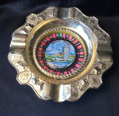 Vintage Collectable Wrest Point Casino Roulette Novelty Gold Metal Ashtray