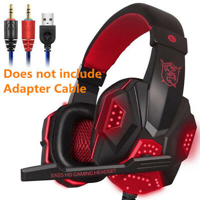3.5mm Gaming Headset LED Headphones Stereo Mic for Laptop PS3 PS4 Xbox one X Red