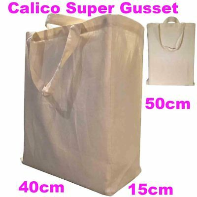 Large Calico Gusset Bag Calico Bags Shopping Bag Calico Bag Gusset 15cm H50*W45