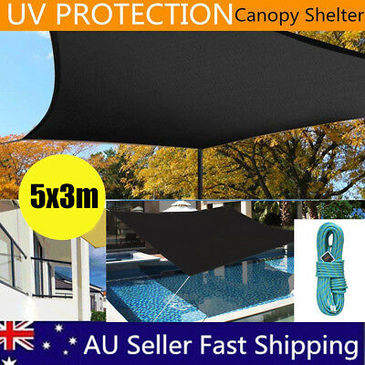 5*3m Sun Shade Sail Shade Awning Canopy Outdoor Garden Pool Square Rectangle