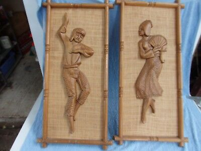 VINTAGE PAIR BEAUTIFULLY HAND-CARVED  TEAK WOOD WALL PLAQUES   65cm. X 33cm
