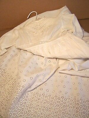 Antique very long Christening gown embroidered wheels, perhaps for boy