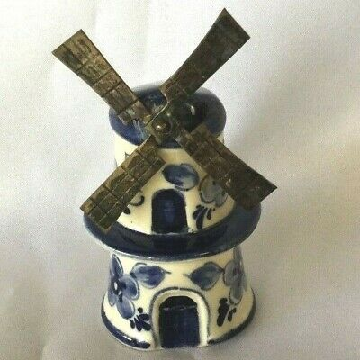 Antique vintage blue white china wine bottle stopper Dutch Holland windmill fans