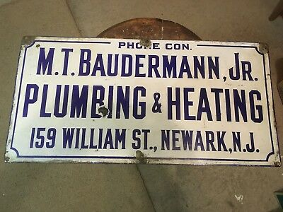 Nice Early Antique Porcelain Sign Newark New Jersey Plumber Advertising