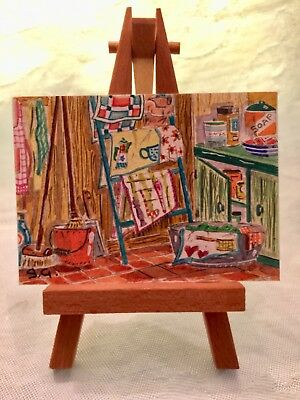 ACEO Orig Watercolor by James Grey Kitchen Linen