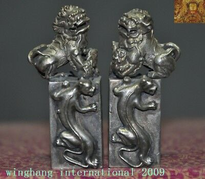 chinese fengshui tibet silver Guardian fu foo dog beast dragon Seal Stamp Signet