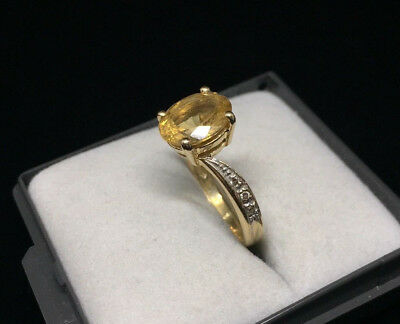 Bague ancienne en or 18 carats avec Citrine, diamants Vintage Gold Ring