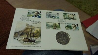Isle Of Man Fdc The Bounty 1989 - With Coin (Lfdc28)