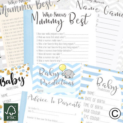 Baby Shower Games For Baby Boy Prediction Cards Who Knows Mummy Best Advice Card