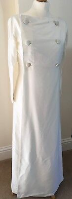 Vintage Mayfair Cream Shantung Silk Wedding dress & long panel jacket size 12