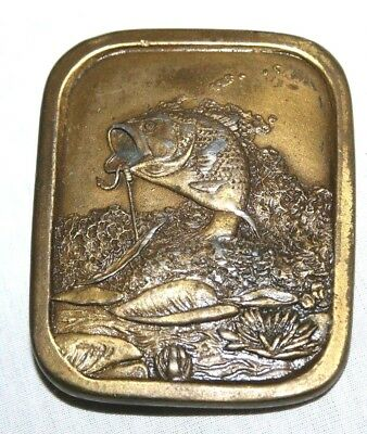 Indiana Metal Craft 1976 Vintage Belt Buckle A 97 Bass Fishing Collectible