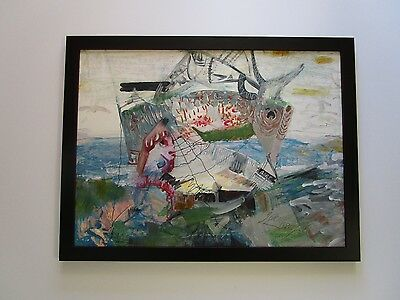 Mystery Artist Signed  Abstract Expressionist Painting Modernism Beach Boat Ship