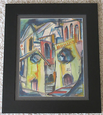 Albright Vintage 1960'S Abstract Modern Architectural Cityscape Signed Painting