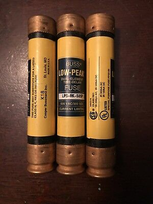 LOT of 3 COOPER BUSSMANN LPS-RK-50SP LOW-PEAK TIME DELAY FUSE 600V-AC 50A