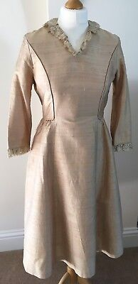 Vintage 1950's Cream/Gold Shantung Silk Wedding dress lace collar size 12-14