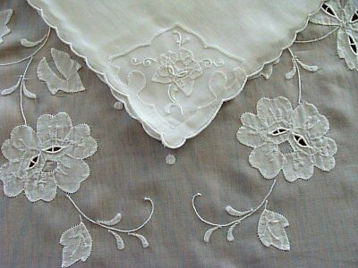"PRISTINE Vtg MADEIRA White Linen Organdy Tablecloth 104"" 12 Napkins RARE Cutwork"