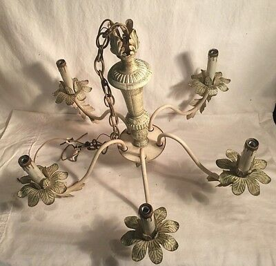 "Vintage Antique Art Deco 5 light arm Chandelier Ceiling fixture 23"" x 17"" FLORAL"