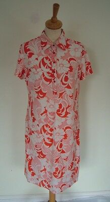 Vintage 60s M&S short floral abstract shirt dress, M L 14 16