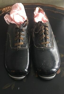 Vintage Tap Dance Shoes Black Lace up Ninos New York Collectible Prop Decor