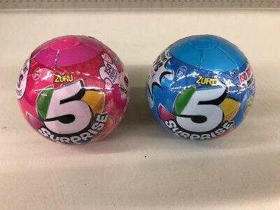 (2) ZURU 5 Surprise Miniature Toy Mystery Ball - Pink And Blue