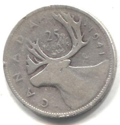 Silver 1941 Canadian Caribou 25 Cent Coin - Canada Quarter - King George VI