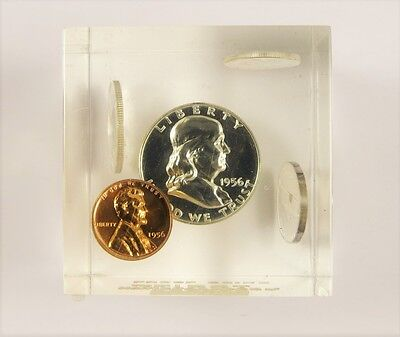 1956 Proof Set - Type-1 - In Lucite Holder - Paperweight  !! FREE SHIPPING !!