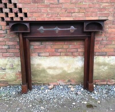 Antique Arts and Crafts Art Noveau Wooden Fire Surround Mantlepiece
