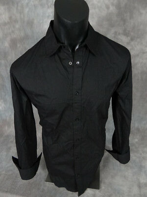 NEW Mens ROAR Shirt Solid Black Long Sleeve Dress Shirt Button Front  10