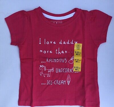 Baby Girls Pink Short Sleeve T Shirt with I Love Daddy More than Unicorns, etc