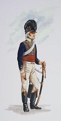 Orig. Military Watercolour Painting - Trooper - 13Th Light Dragoons - 1800