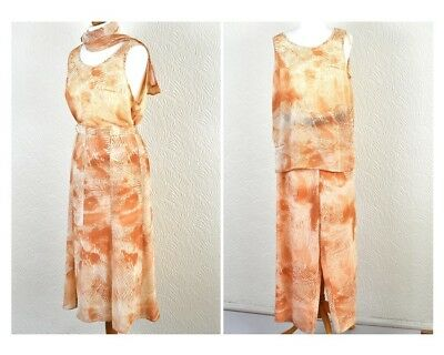 Flare Skirt Trousers Suit Outfit Dress Orange White Jungle Cruise Occasion Sz 16